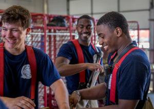 Tri-C fire academy cadets Dwayne Johnson, Nicholas Giavonnette and Savon Collins.