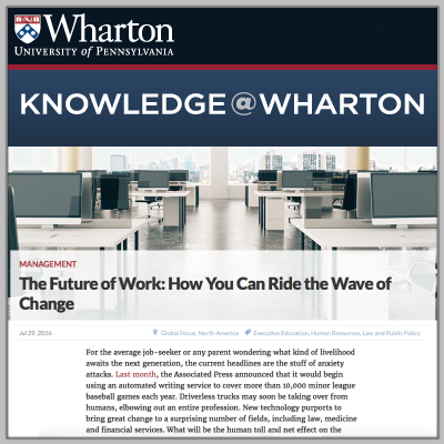 Art Bilger writes about the future of employment for Knowledge@Wharton