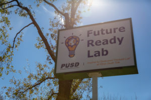 The sign for the PUSD Future Ready Lab Inspired by Qualcomm Thinkabit Lab.