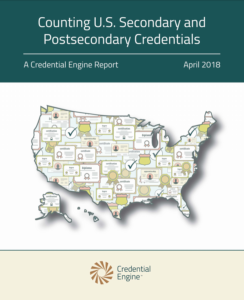 "This is the cover of the Credential Engine report ""Counting U.S. Secondary and Postsecondary Credentials"""