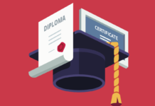 Image of a diploma, graduation mortarboard and a certificate