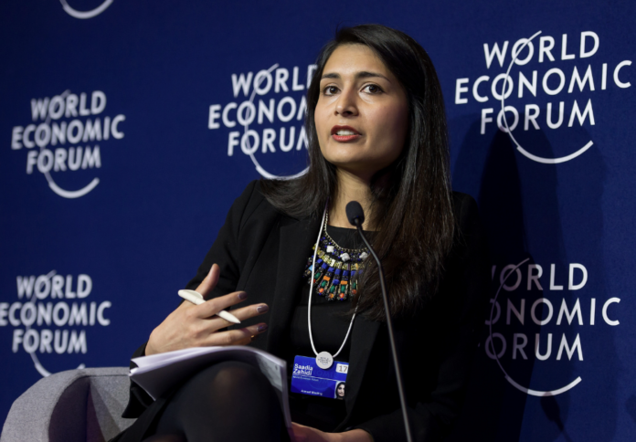 Saadia Zahidi speaks at the World Economic Forum Annual Meeting 2017 in Davos, Switzerland.