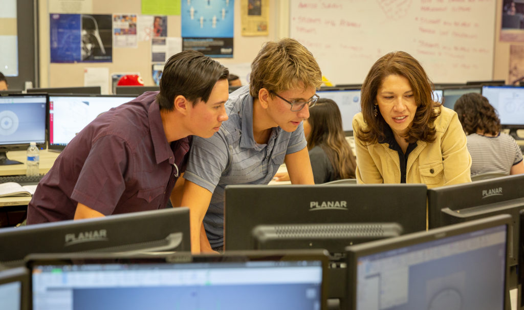 Erika Parker teaches STEM skills to engineering students at Corona High School.