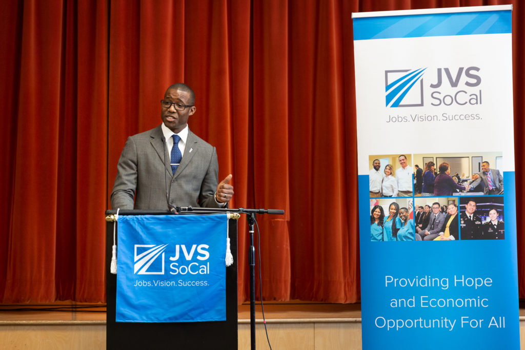 Jerry Walker told JVS BankWork$ graduates about his journey through the program.