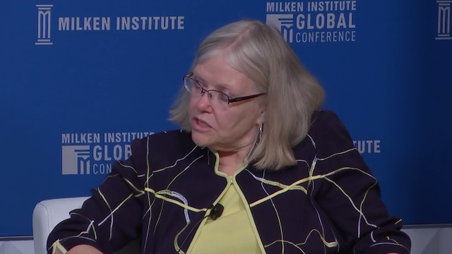 WorkingNation President Jane Oates speaks at the Milken Global Institute 'Building Tomorrow's Workforce Today' panel in Los Angeles, California.