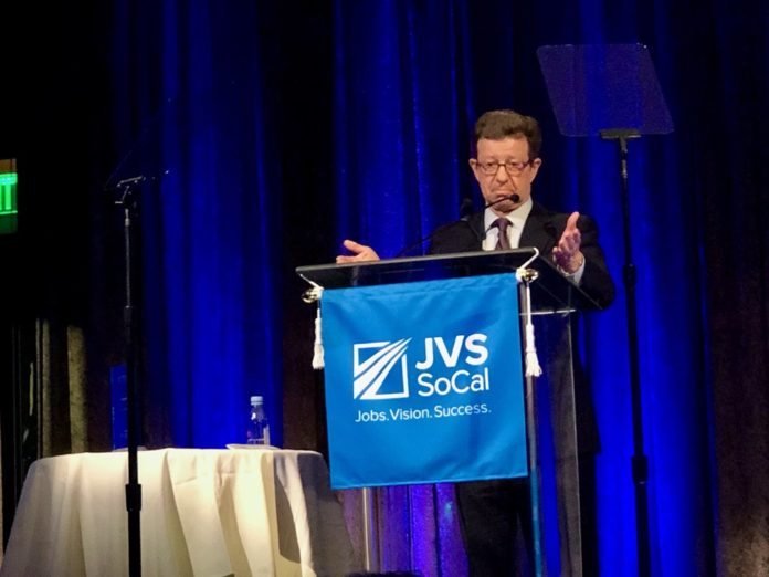 Art Bilger spoke about workforce development and structural unemployment at JVS SoCal Strictly Business L.A. Awards Luncheon.