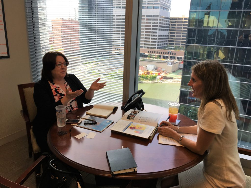 Photo of Director Marie Lynch with Ramona Schindelheim at the skills training offices in Chicago.