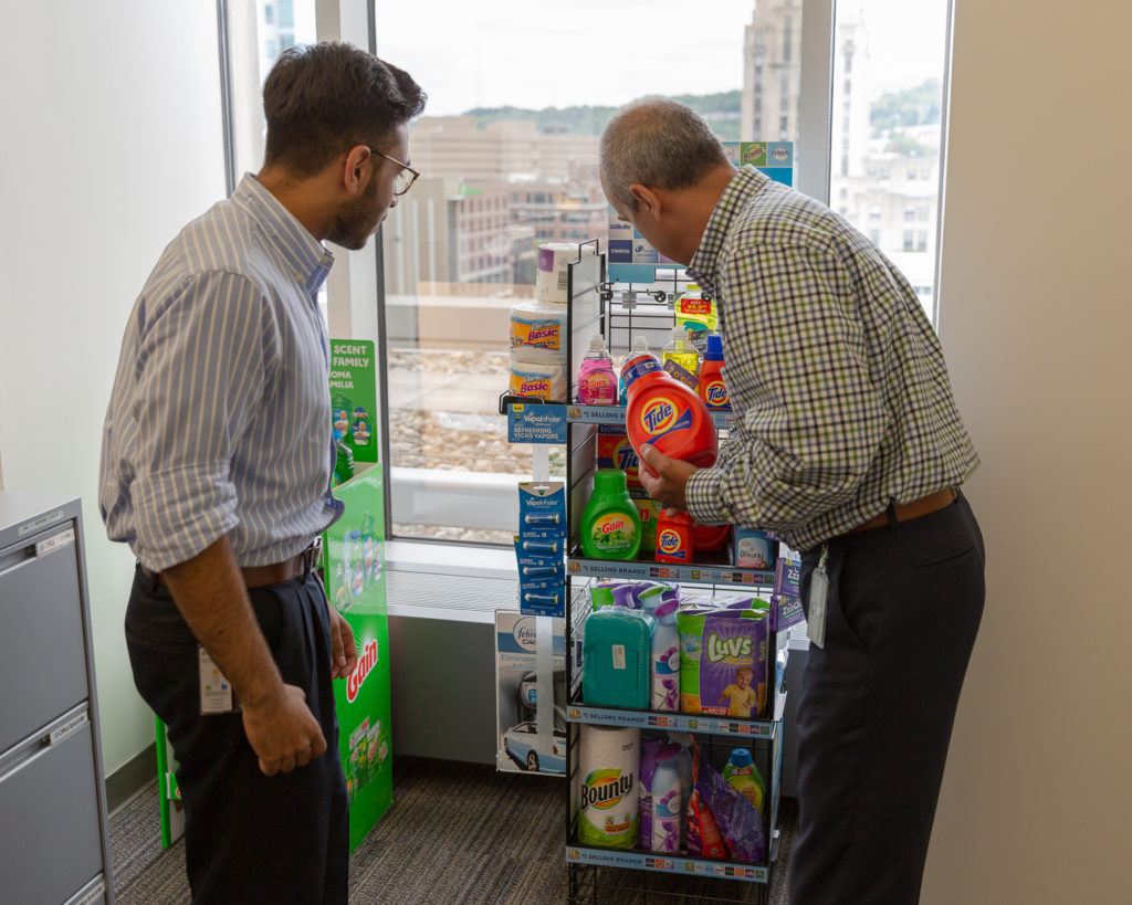 INROADS intern Arun Yagnamurthy at work at the P&G offices in Cincinnati.