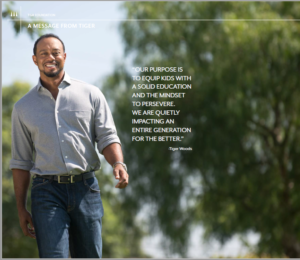 Tiger Woods' message to supporters of the TIger Woods Foundation.