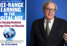 "Book image of ""Free-Range Learning in the Digital Age"" and author Dr. Peter Smith. The book is geared for adult learners."