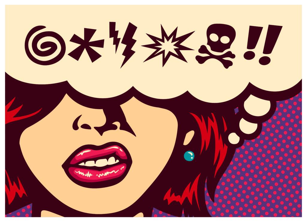 Image of someone swearing in a cartoon.