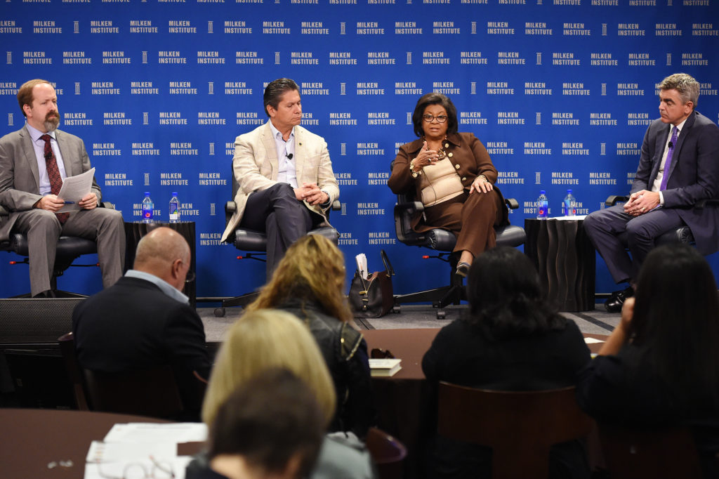 Education leaders Eloy Oakley and Soraya M. Coley discussed business led education and training at the town hall.