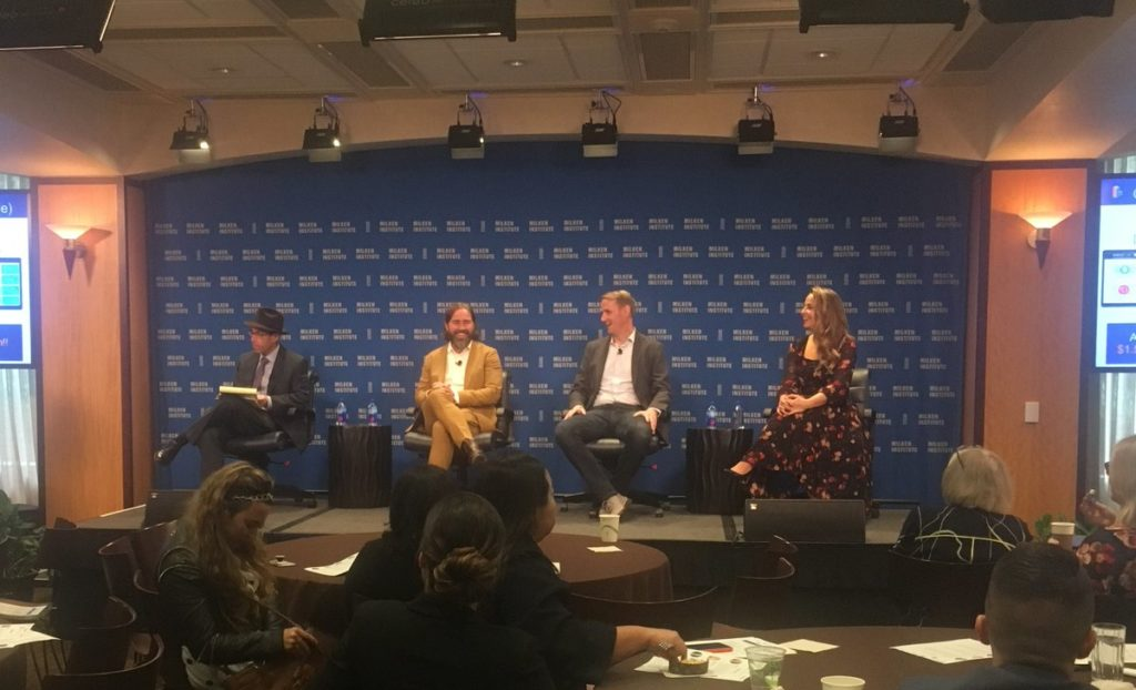 Photo of the final panel from the business led town hall in Los Angeles.