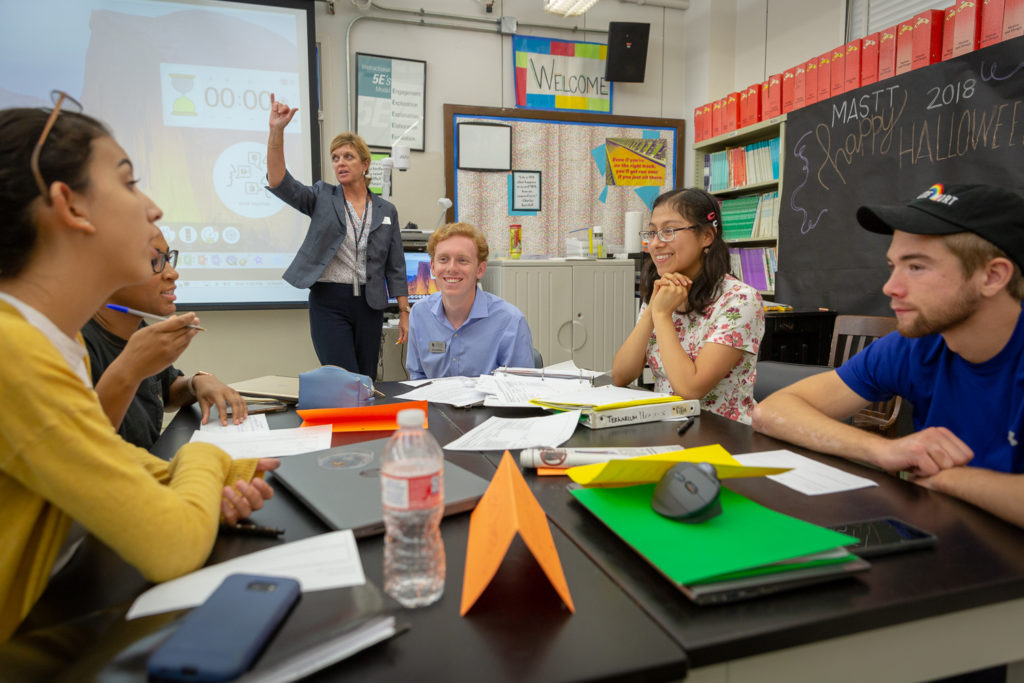 A UTeach classroom where students work on project-based learning skills.