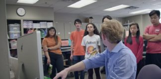 Garrett Mott instructs students in class.