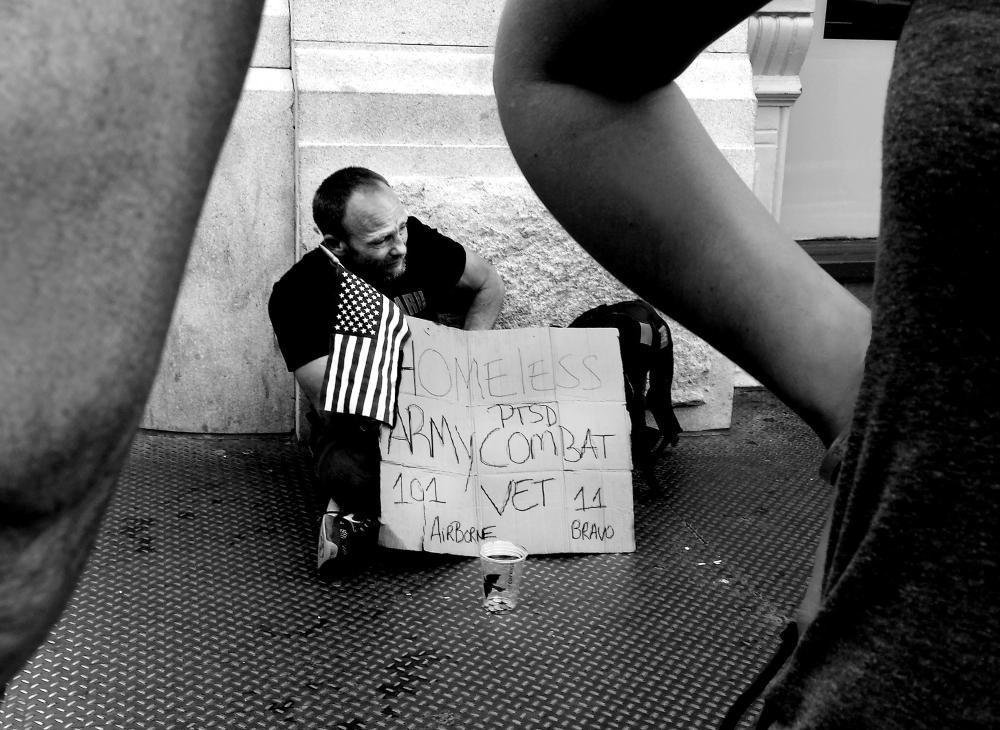 Homeless veteran in New York City asks for help.