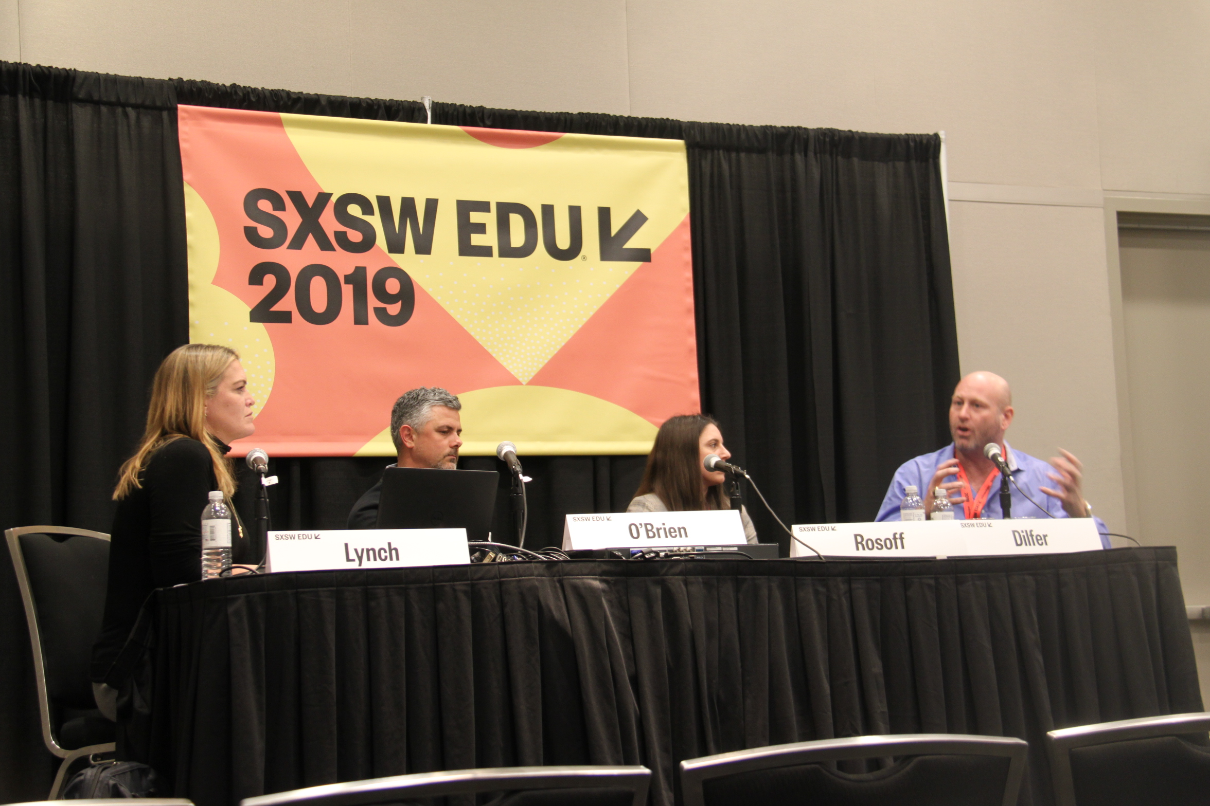 WorkingNation's Joan Lynch leads SXSW EDU panel discussion, How Data Analytics Is Changing Sports, with panelists Brett O'Brien, Caryn Rosoff and Trent Dilfer.