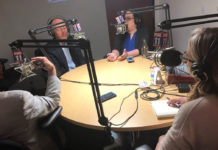 "Wide table shot of ""What the Hal?"" podcast guests."