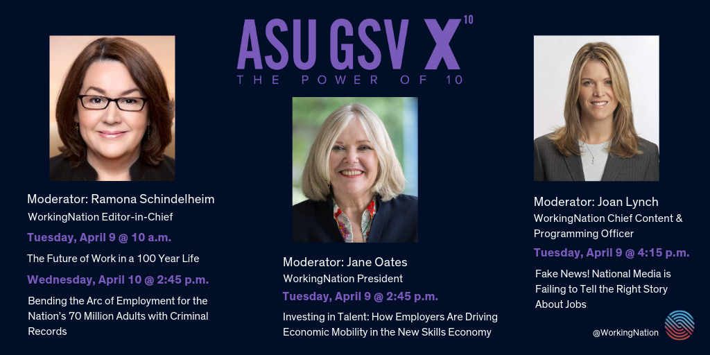Graphic of each of WorkingNation's panels, with moderator photos, at 2019 ASU GSV Summit.