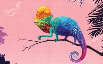 Cameleon wearing a hard hat