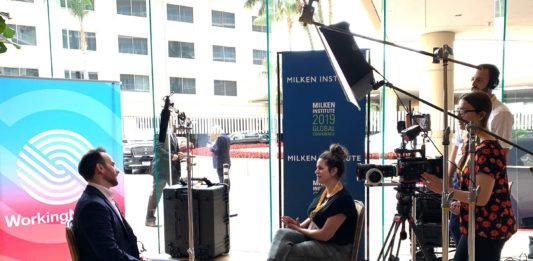 WorkingNation producer Melissa Panzer conducts and interview at 2019 Milken Global Conference.