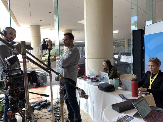 WorkingNation team work at pop-up studio at Milken Global Conference 2019.