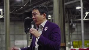 Andrew Yang during stump speech screenshot