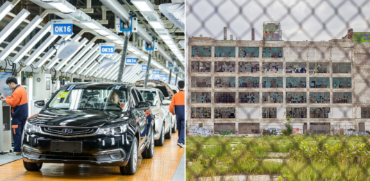 Side by side view of busy Chinese auto plant and closed Detroit auto plant.