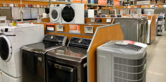Washer and dryer sets at Home Depot store.