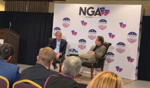 Steve Case (L) on stage with Montana Gov. Steve Bullock.