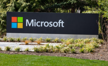 Close up on a Microsoft sign at the headquarters.