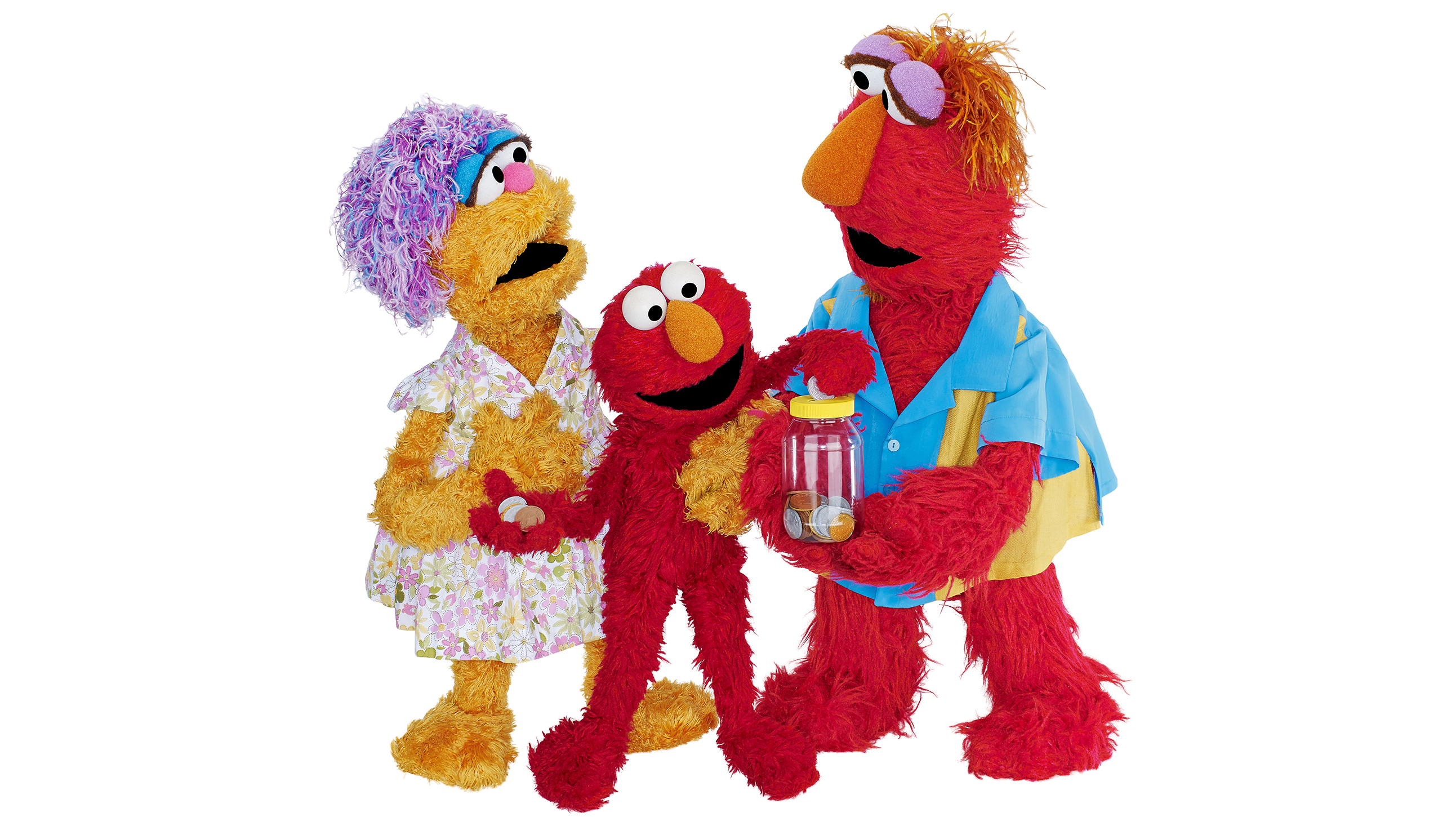 Muppet characters putting change in jar, piggy bank