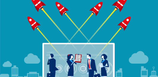 Business team with startup and technology online. illustration
