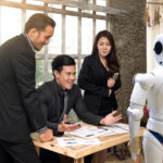 Business people team , manager and personal assistant automation robot video camera conference technology