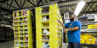 Amazon Worker and Robot