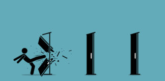 Man kicking down and destroying door one by one. Vector illustration
