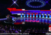 Wide shot of candidates on Night 1 of CNN 2020 Democratic primary debate in Detroit.