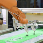 The automatic robot arm for sheet metal forming factory.