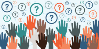 Hands raised with question marks in background graphic