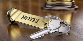Hotel key on lobby desk
