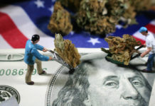 Mini figurines hauling marijuana over money and American flag